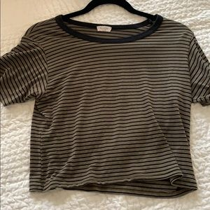 brandy melville army green striped tee